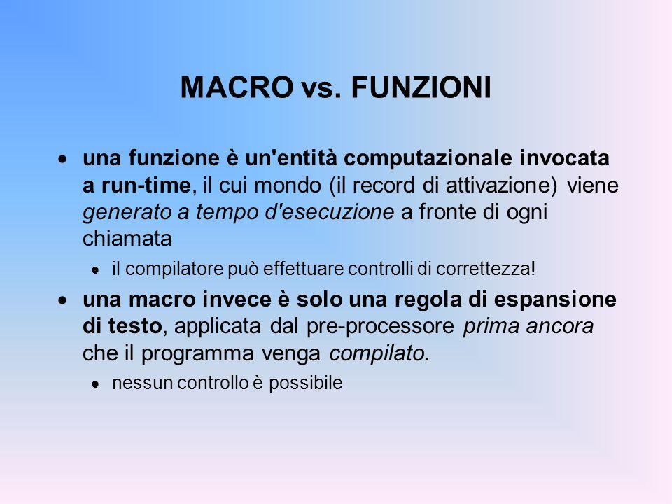 MACRO vs. FUNZIONI  una funzione è un'entità computazionale invocata a run-time, il cui mondo (il record di attivazione) viene generato a tempo d'ese