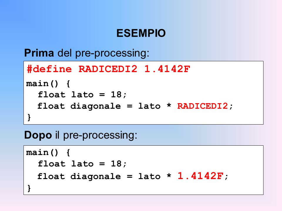 ESEMPIO #define RADICEDI2 1.4142F main() { float lato = 18; float diagonale = lato * RADICEDI2; } Prima del pre-processing: main() { float lato = 18; float diagonale = lato * 1.4142F ; } Dopo il pre-processing: