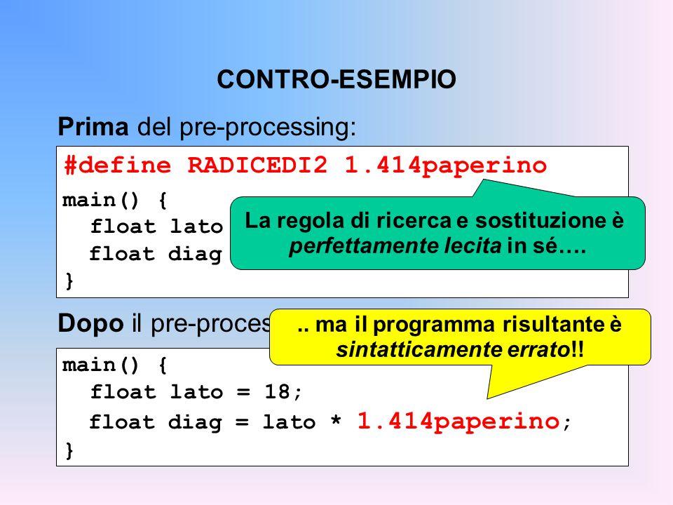 CONTRO-ESEMPIO #define RADICEDI2 1.414paperino main() { float lato = 18; float diag = lato * RADICEDI2; } Prima del pre-processing: main() { float lato = 18; float diag = lato * 1.414paperino ; } Dopo il pre-processing: La regola di ricerca e sostituzione è perfettamente lecita in sé…...