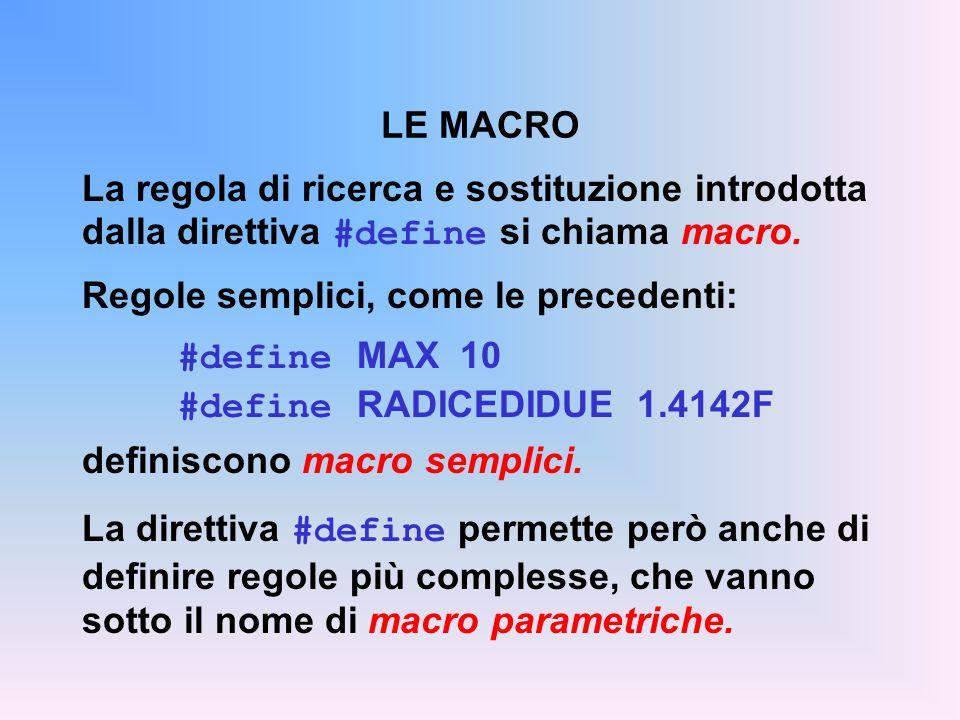 La regola di ricerca e sostituzione introdotta dalla direttiva #define si chiama macro. Regole semplici, come le precedenti: #define MAX 10 #define RA