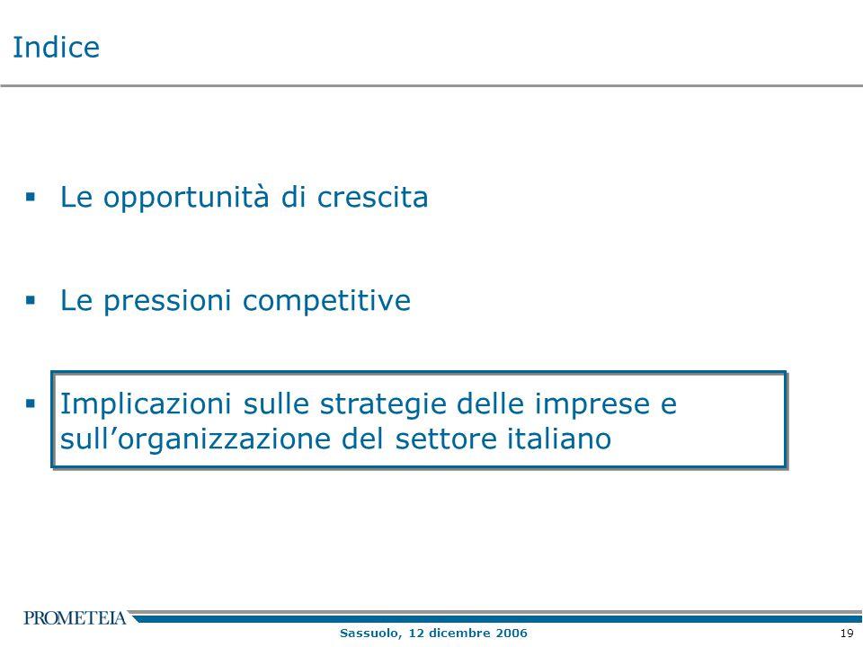 19 Sassuolo, 12 dicembre 2006  Le opportunità di crescita  Le pressioni competitive  Implicazioni sulle strategie delle imprese e sull'organizzazione del settore italiano Indice