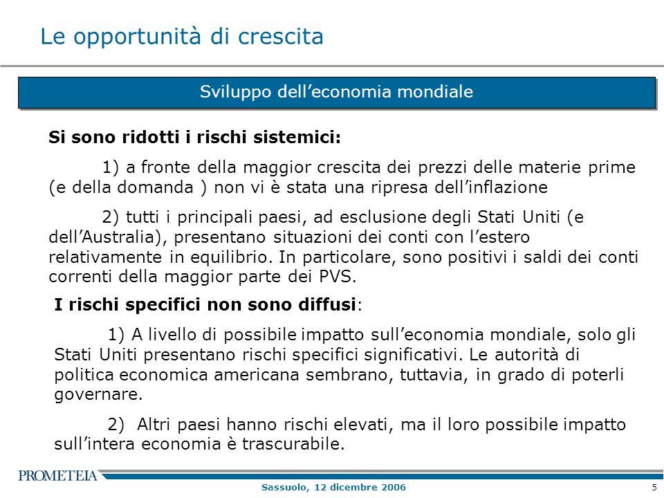 5 Sassuolo, 12 dicembre 2006 Le opportunità di crescita Sviluppo dell'economia mondiale Si sono ridotti i rischi sistemici: 1) a fronte della maggior