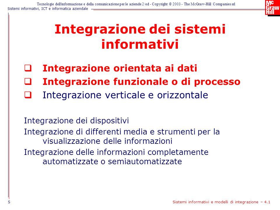 Sistemi informativi, ICT e informatica aziendale Tecnologie dell informazione e della comunicazione per le aziende 2/ed - Copyright © 2003 - The McGraw-Hill Companies srl Integrazione orizzontale e verticale 6Sistemi informativi e modelli di integrazione – 4.1