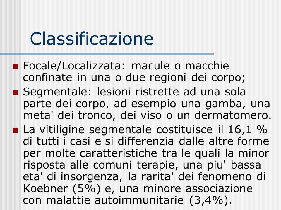 CLASSIFICAZIONE La vitiligine viene clinicamente classificata sulla base di due criteri: l'estensione della malattia e la topografia delle aree coinvo