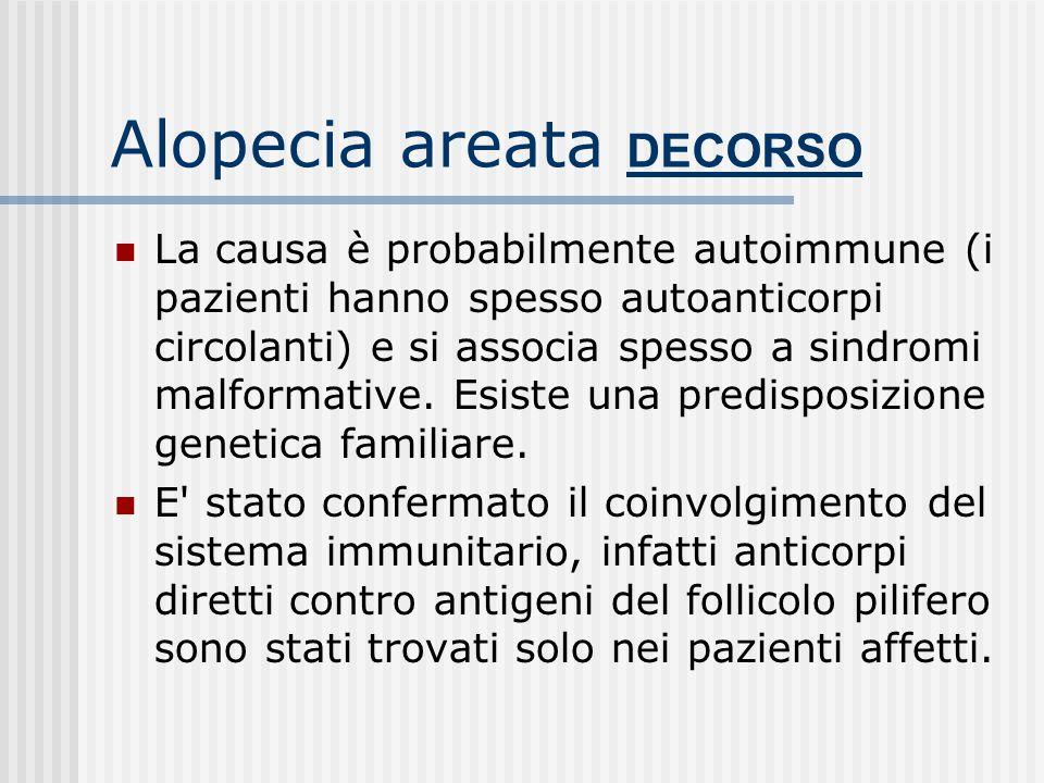 Alopecia areata DECORSO Il decorso è comunque imprevedibile, capriccioso e tipicamente recidivante e spesso le recidive sono più gravi dell'episodio i
