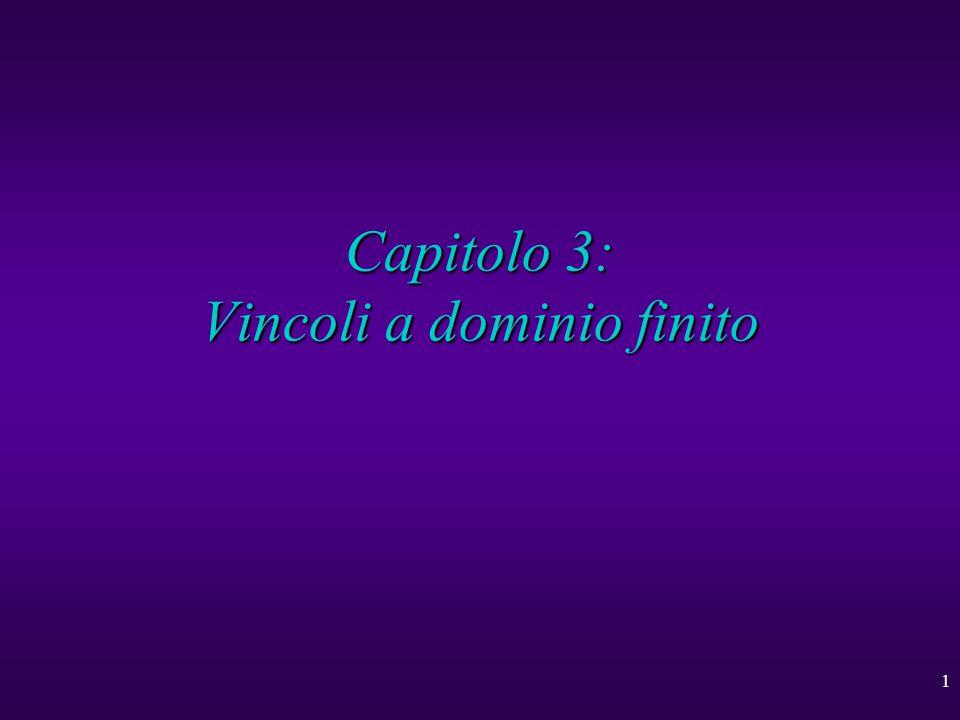 2 Vincoli a dominio finito u Problemi di soddisfazione di vincoli u Un risolutore con backtracking u Consistenza su nodi e archi u Consistenza sui limiti u Consistenza generalizzata u Ottimizzazione per vincoli aritmetici