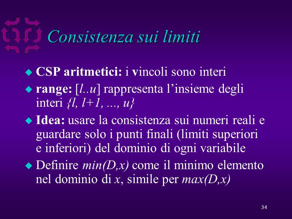 34 Consistenza sui limiti u CSP aritmetici: i vincoli sono interi u range: [l..u] rappresenta l'insieme degli interi {l, l+1,..., u} u Idea: usare la consistenza sui numeri reali e guardare solo i punti finali (limiti superiori e inferiori) del dominio di ogni variabile u Definire min(D,x) come il minimo elemento nel dominio di x, simile per max(D,x)