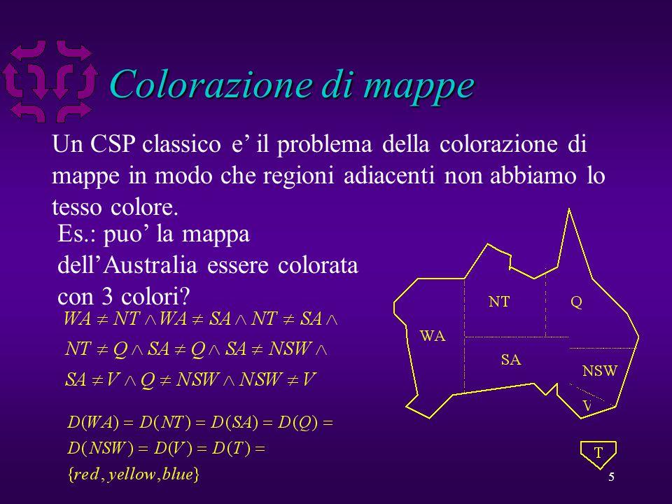 5 Colorazione di mappe Un CSP classico e' il problema della colorazione di mappe in modo che regioni adiacenti non abbiamo lo tesso colore.