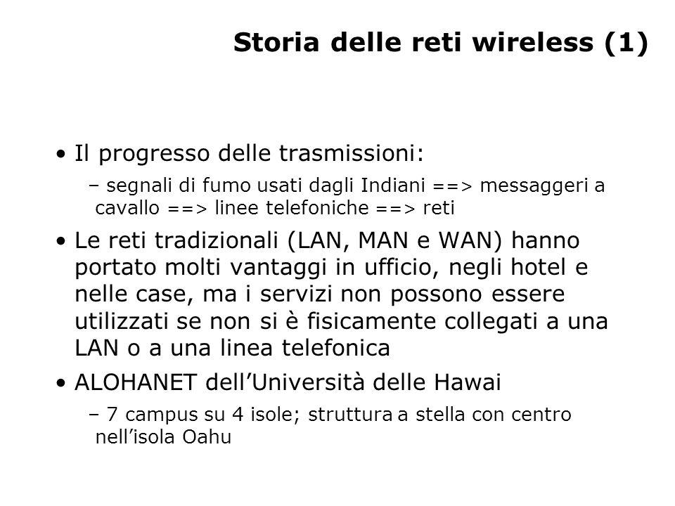 Storia delle reti wireless (1) Il progresso delle trasmissioni: – segnali di fumo usati dagli Indiani ==> messaggeri a cavallo ==> linee telefoniche =