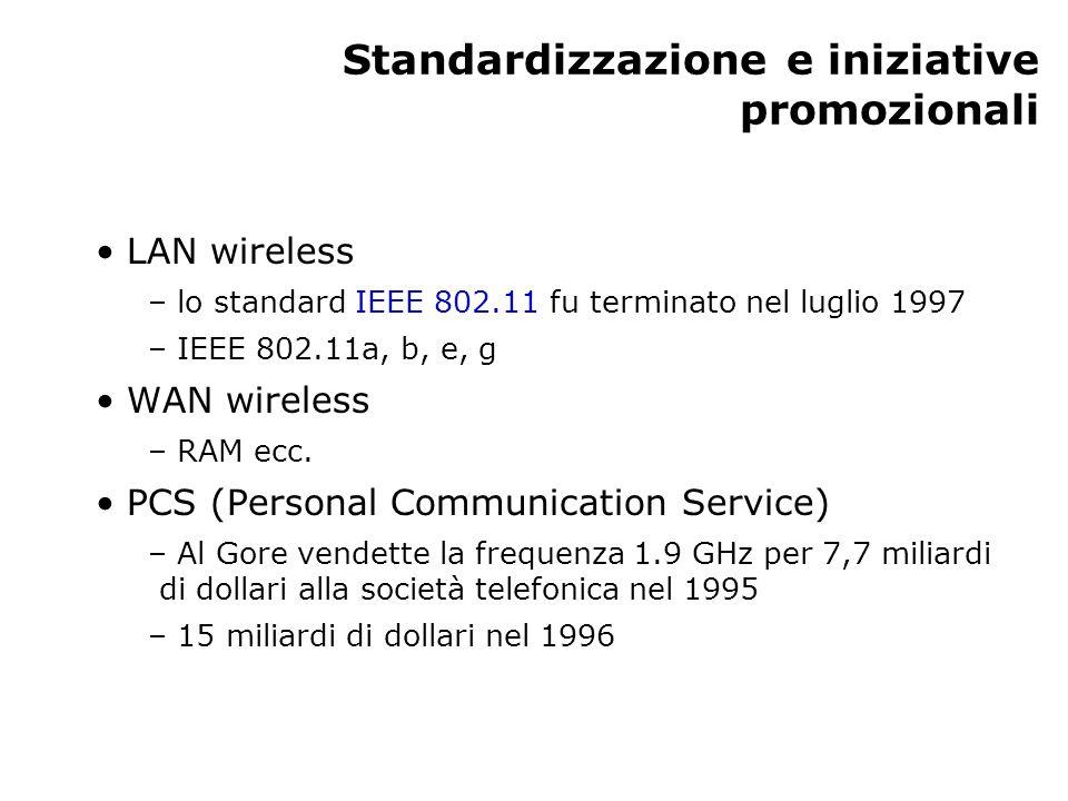 Standardizzazione e iniziative promozionali LAN wireless – lo standard IEEE 802.11 fu terminato nel luglio 1997 – IEEE 802.11a, b, e, g WAN wireless –