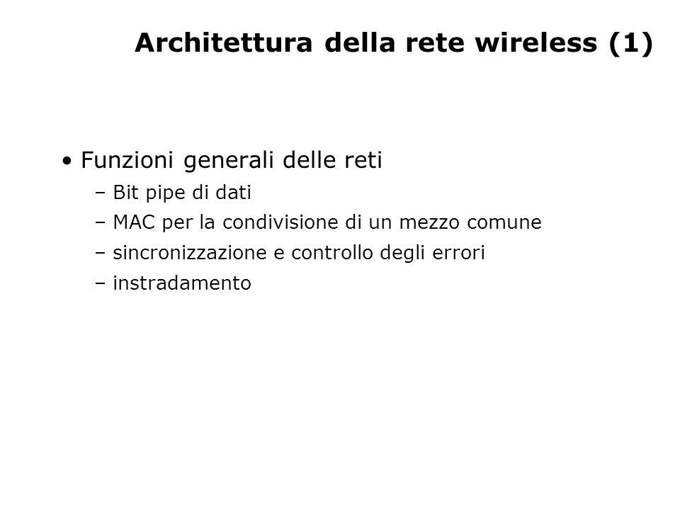 Architettura della rete wireless (1) Funzioni generali delle reti – Bit pipe di dati – MAC per la condivisione di un mezzo comune – sincronizzazione e controllo degli errori – instradamento