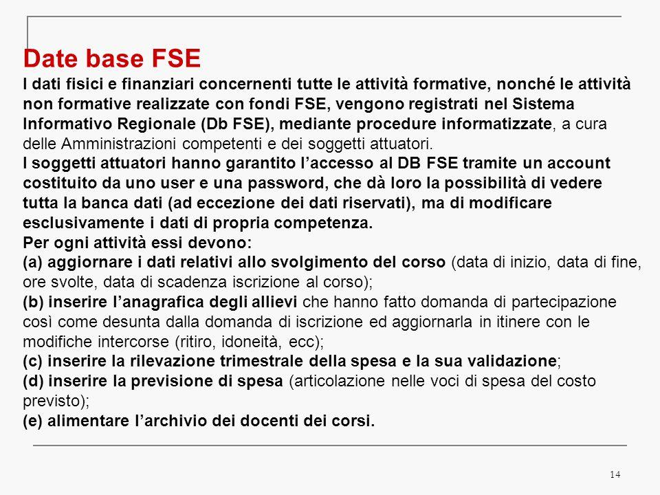 14 Date base FSEI dati fisici e finanziari concernenti tutte le attività formative, nonché le attivitànon formative realizzate con fondi FSE, vengono registrati nel SistemaInformativo Regionale (Db FSE), mediante procedure informatizzate, a cura delle Amministrazioni competenti e dei soggetti attuatori.I soggetti attuatori hanno garantito l'accesso al DB FSE tramite un accountcostituito da uno user e una password, che dà loro la possibilità di vederetutta la banca dati (ad eccezione dei dati riservati), ma di modificareesclusivamente i dati di propria competenza.Per ogni attività essi devono:(a) aggiornare i dati relativi allo svolgimento del corso (data di inizio, data di fine, ore svolte, data di scadenza iscrizione al corso);(b) inserire l'anagrafica degli allievi che hanno fatto domanda di partecipazione così come desunta dalla domanda di iscrizione ed aggiornarla in itinere con lemodifiche intercorse (ritiro, idoneità, ecc);(c) inserire la rilevazione trimestrale della spesa e la sua validazione ; (d) inserire la previsione di spesa (articolazione nelle voci di spesa del costo previsto);(e) alimentare l'archivio dei docenti dei corsi.