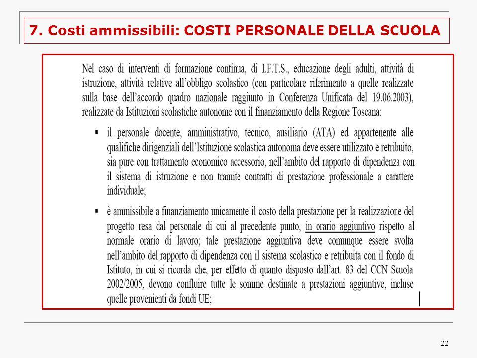 22 7. Costi ammissibili: COSTI PERSONALE DELLA SCUOLA