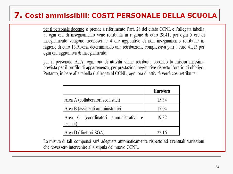 23 7. Costi ammissibili: COSTI PERSONALE DELLA SCUOLA
