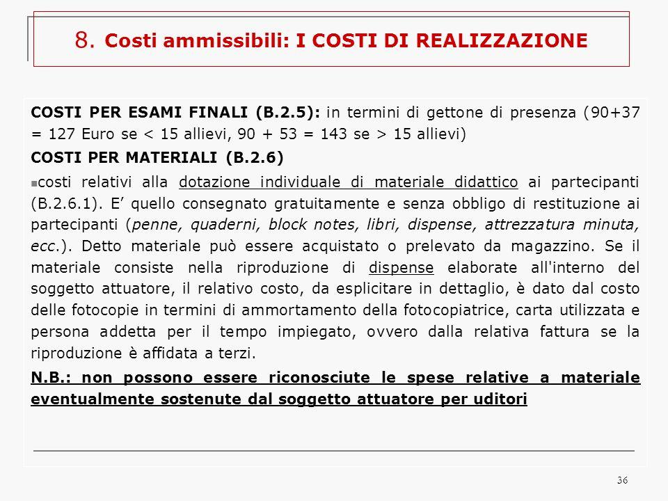 36 COSTI PER ESAMI FINALI (B.2.5): in termini di gettone di presenza (90+37 = 127 Euro se 15 allievi) COSTI PER MATERIALI (B.2.6) costi relativi alla dotazione individuale di materiale didattico ai partecipanti (B.2.6.1).