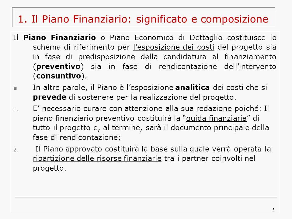 5 1. Il Piano Finanziario: significato e composizione Il Piano Finanziario o Piano Economico di Dettaglio costituisce lo schema di riferimento per l'e