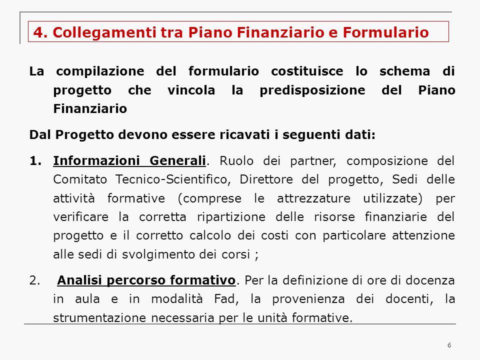 6 4. Collegamenti tra Piano Finanziario e Formulario La compilazione del formulario costituisce lo schema di progetto che vincola la predisposizione d