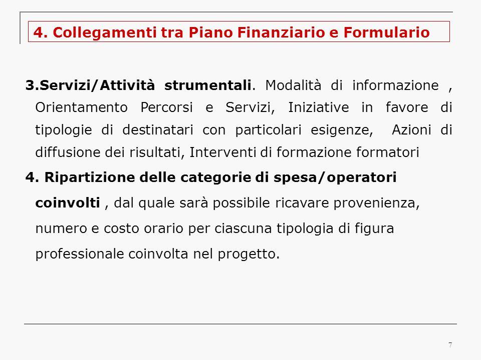 7 4. Collegamenti tra Piano Finanziario e Formulario 3.Servizi/Attività strumentali.