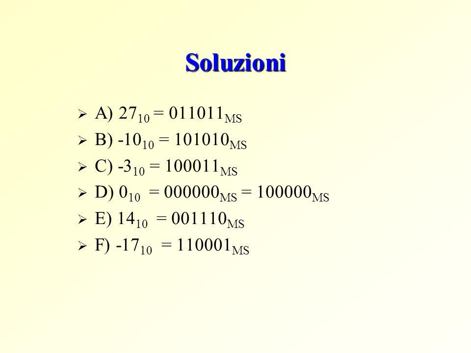 Soluzioni  A) 27 10 = 011011 MS  B) -10 10 = 101010 MS  C) -3 10 = 100011 MS  D) 0 10 = 000000 MS = 100000 MS  E) 14 10 = 001110 MS  F) -17 10 = 110001 MS