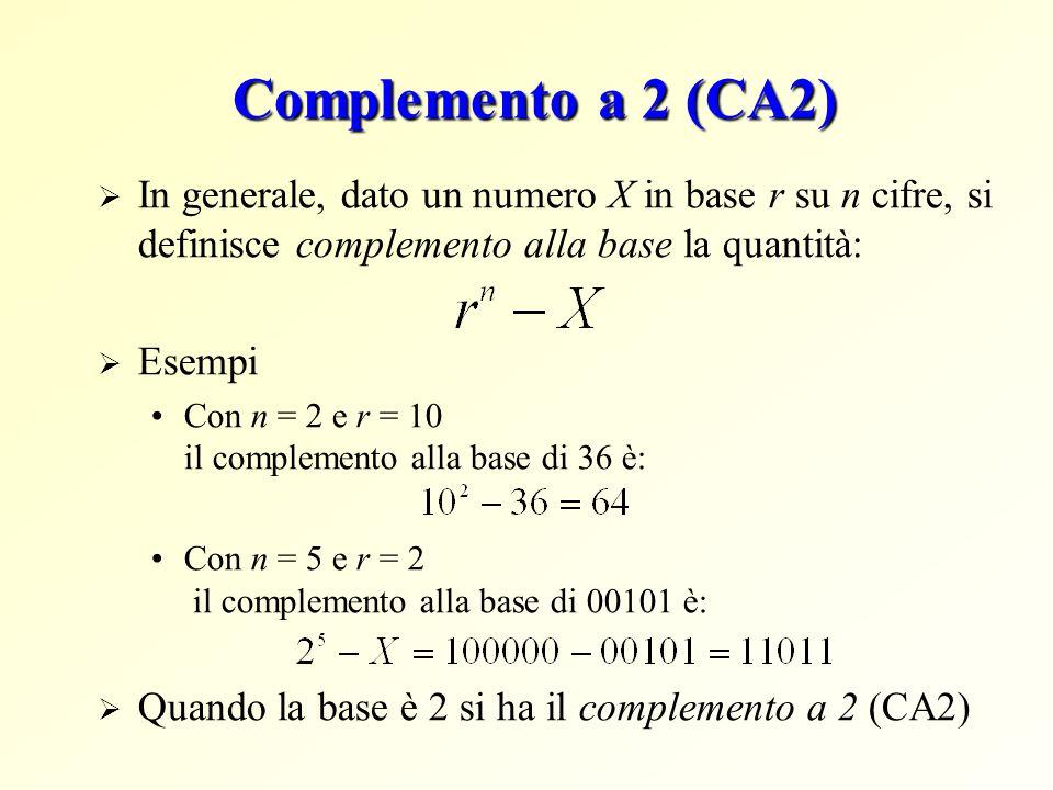 Complemento a 2 (CA2)  In generale, dato un numero X in base r su n cifre, si definisce complemento alla base la quantità:  Esempi Con n = 2 e r = 10 il complemento alla base di 36 è: Con n = 5 e r = 2 il complemento alla base di 00101 è:  Quando la base è 2 si ha il complemento a 2 (CA2)