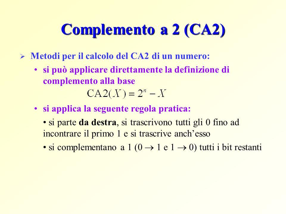 Complemento a 2 (CA2)  Metodi per il calcolo del CA2 di un numero: si può applicare direttamente la definizione di complemento alla base si applica la seguente regola pratica: si parte da destra, si trascrivono tutti gli 0 fino ad incontrare il primo 1 e si trascrive anch'esso si complementano a 1 (0  1 e 1  0) tutti i bit restanti