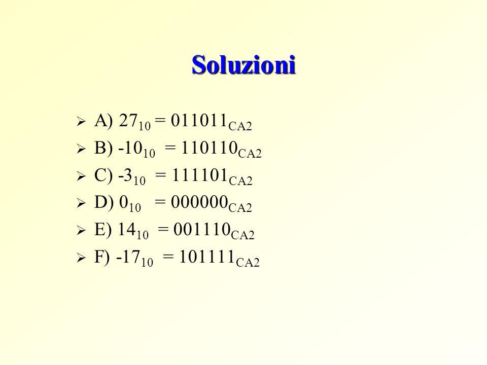 Soluzioni  A) 27 10 = 011011 CA2  B) -10 10 = 110110 CA2  C) -3 10 = 111101 CA2  D) 0 10 = 000000 CA2  E) 14 10 = 001110 CA2  F) -17 10 = 101111