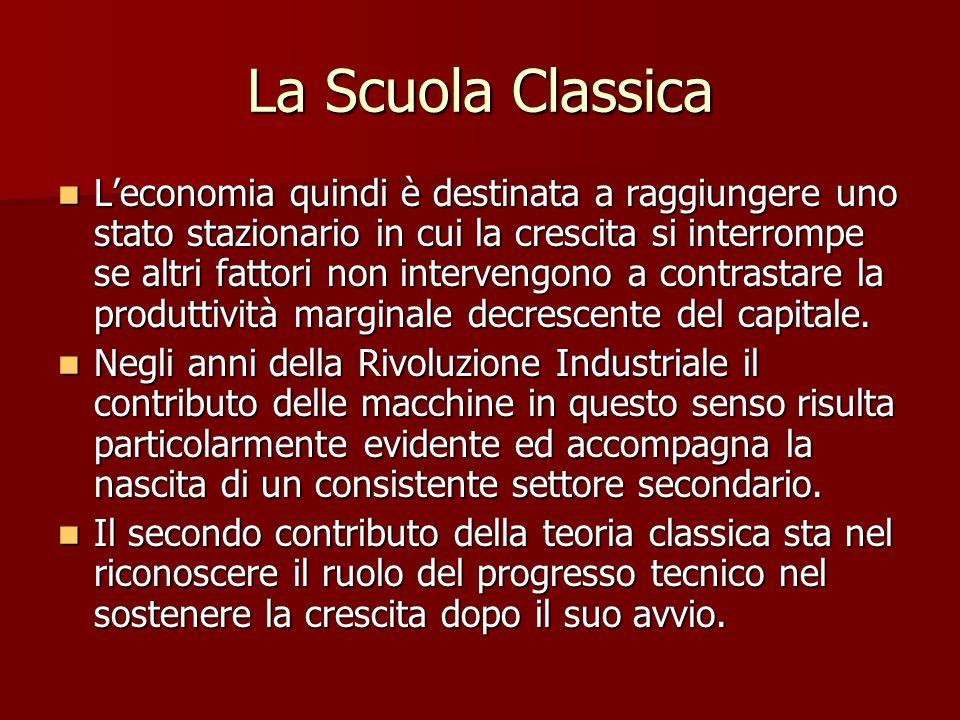 La Scuola Classica L'economia quindi è destinata a raggiungere uno stato stazionario in cui la crescita si interrompe se altri fattori non intervengono a contrastare la produttività marginale decrescente del capitale.
