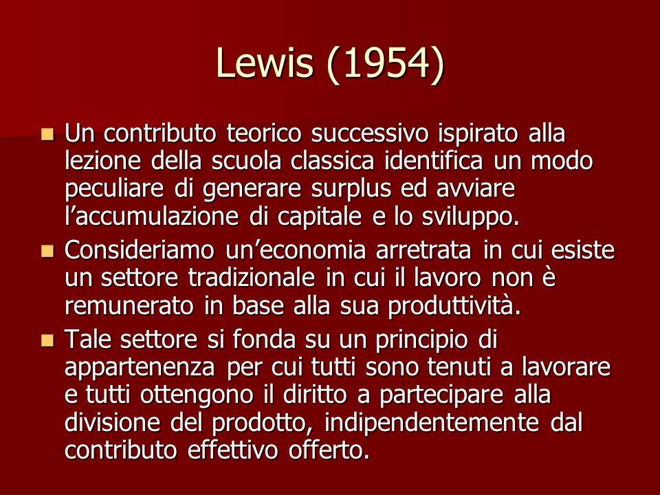 Lewis (1954) Un contributo teorico successivo ispirato alla lezione della scuola classica identifica un modo peculiare di generare surplus ed avviare l'accumulazione di capitale e lo sviluppo.
