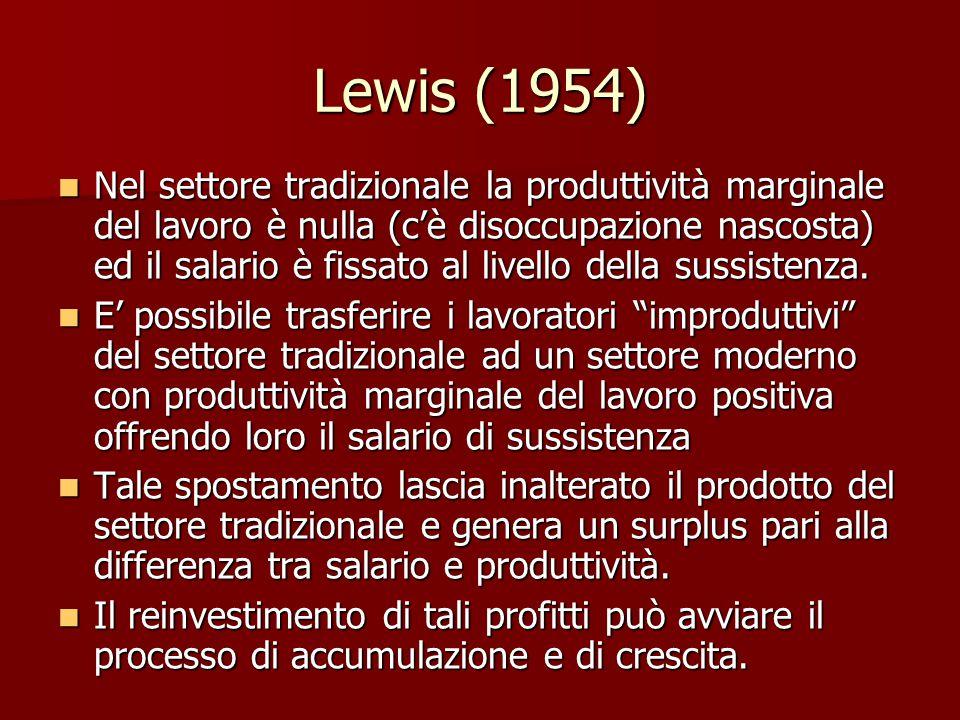 Lewis (1954) Nel settore tradizionale la produttività marginale del lavoro è nulla (c'è disoccupazione nascosta) ed il salario è fissato al livello della sussistenza.