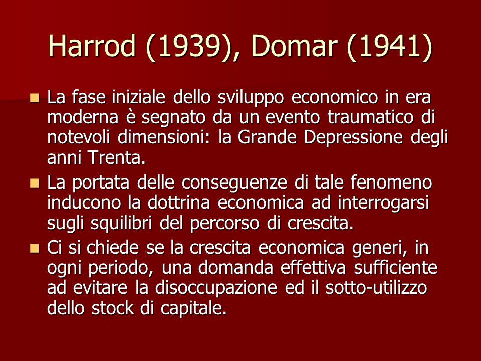 Harrod (1939), Domar (1941) La fase iniziale dello sviluppo economico in era moderna è segnato da un evento traumatico di notevoli dimensioni: la Grande Depressione degli anni Trenta.