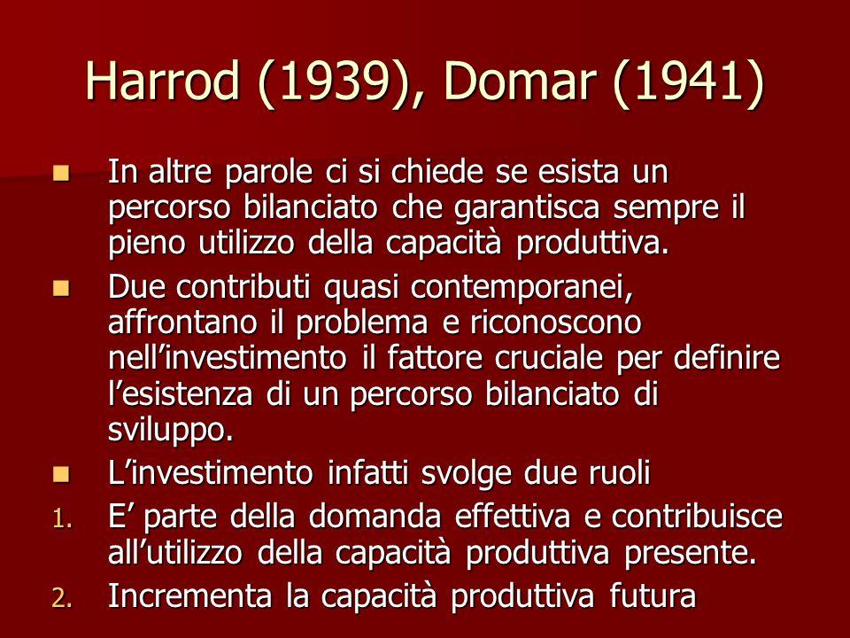 Harrod (1939), Domar (1941) In altre parole ci si chiede se esista un percorso bilanciato che garantisca sempre il pieno utilizzo della capacità produttiva.