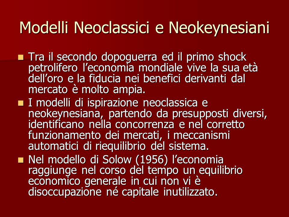 Modelli Neoclassici e Neokeynesiani Tra il secondo dopoguerra ed il primo shock petrolifero l'economia mondiale vive la sua età dell'oro e la fiducia nei benefici derivanti dal mercato è molto ampia.