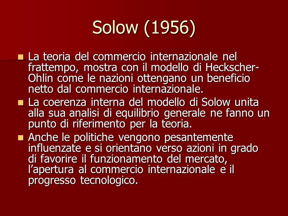 Solow (1956) La teoria del commercio internazionale nel frattempo, mostra con il modello di Heckscher- Ohlin come le nazioni ottengano un beneficio netto dal commercio internazionale.