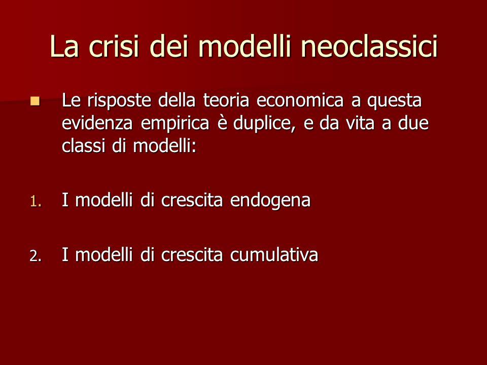 La crisi dei modelli neoclassici Le risposte della teoria economica a questa evidenza empirica è duplice, e da vita a due classi di modelli: Le risposte della teoria economica a questa evidenza empirica è duplice, e da vita a due classi di modelli: 1.
