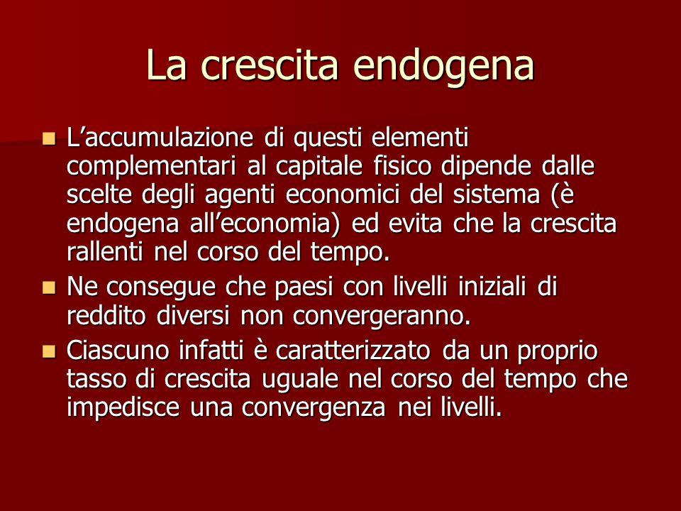 La crescita endogena L'accumulazione di questi elementi complementari al capitale fisico dipende dalle scelte degli agenti economici del sistema (è endogena all'economia) ed evita che la crescita rallenti nel corso del tempo.