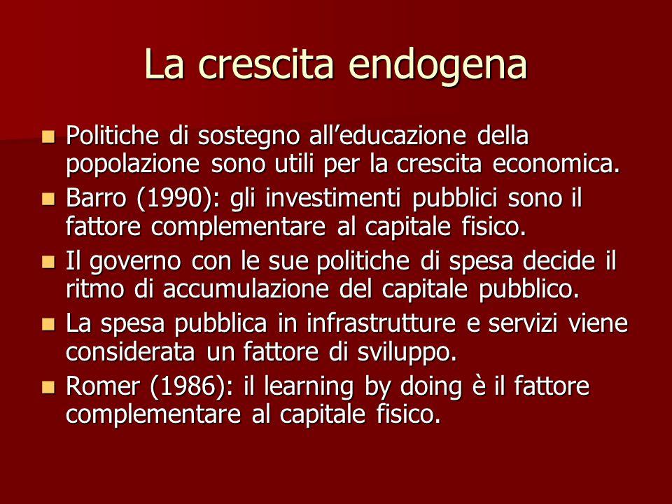 La crescita endogena Politiche di sostegno all'educazione della popolazione sono utili per la crescita economica.