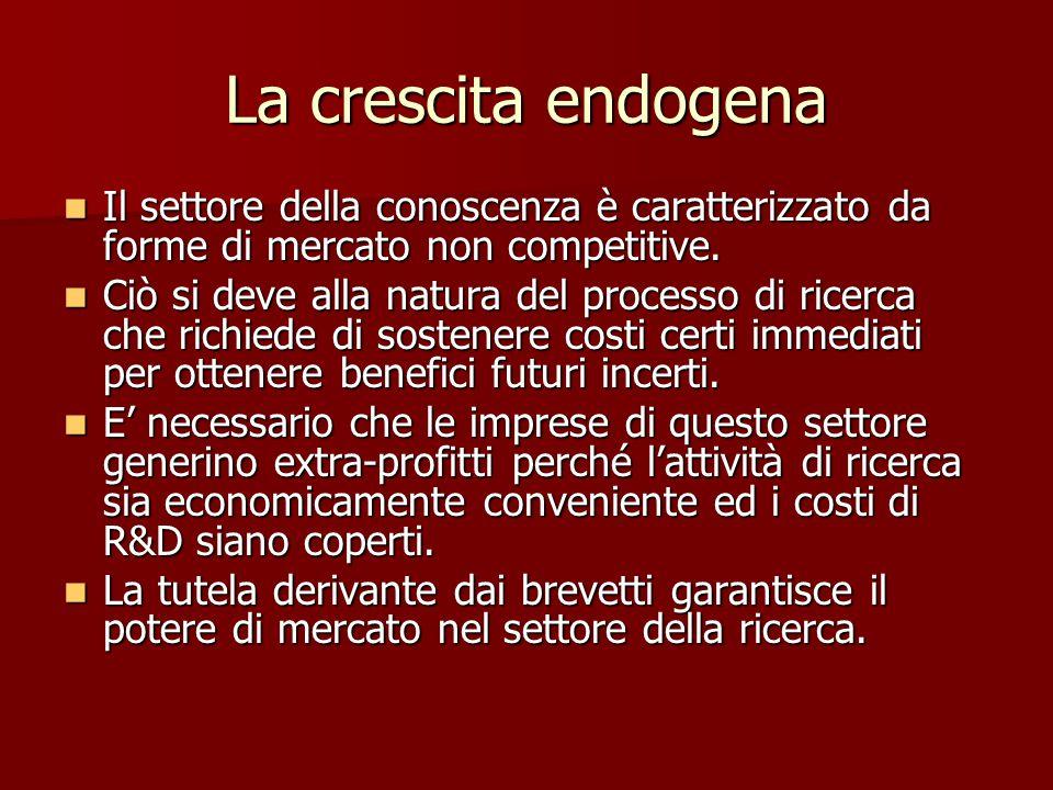La crescita endogena Il settore della conoscenza è caratterizzato da forme di mercato non competitive.