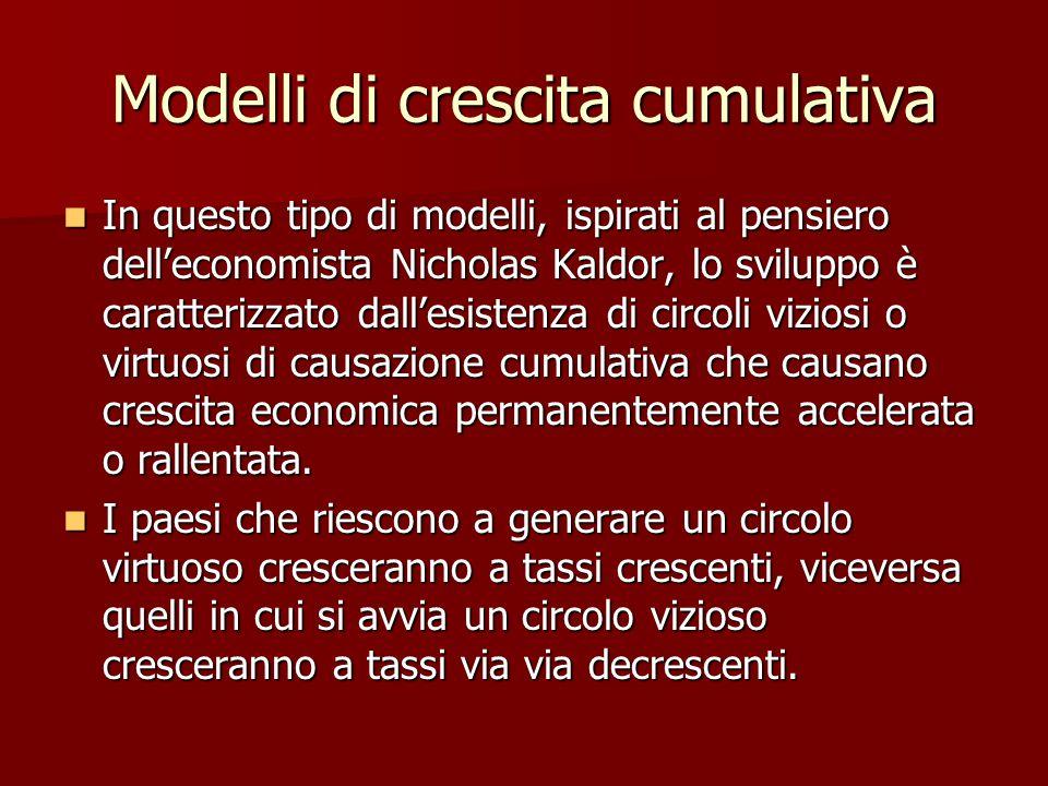 Modelli di crescita cumulativa In questo tipo di modelli, ispirati al pensiero dell'economista Nicholas Kaldor, lo sviluppo è caratterizzato dall'esistenza di circoli viziosi o virtuosi di causazione cumulativa che causano crescita economica permanentemente accelerata o rallentata.