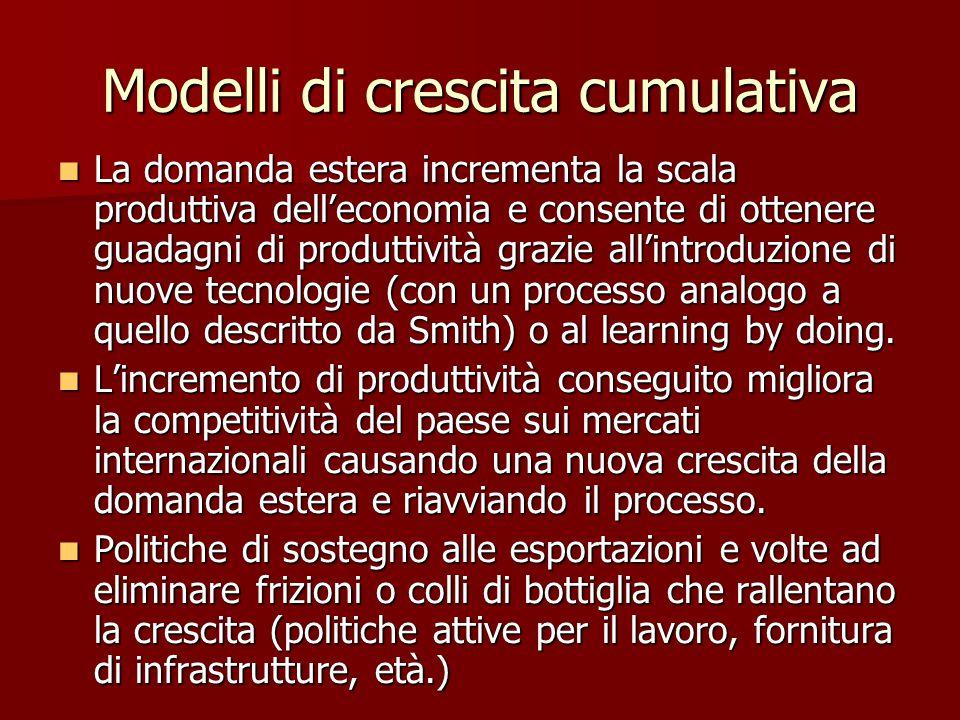 Modelli di crescita cumulativa La domanda estera incrementa la scala produttiva dell'economia e consente di ottenere guadagni di produttività grazie all'introduzione di nuove tecnologie (con un processo analogo a quello descritto da Smith) o al learning by doing.