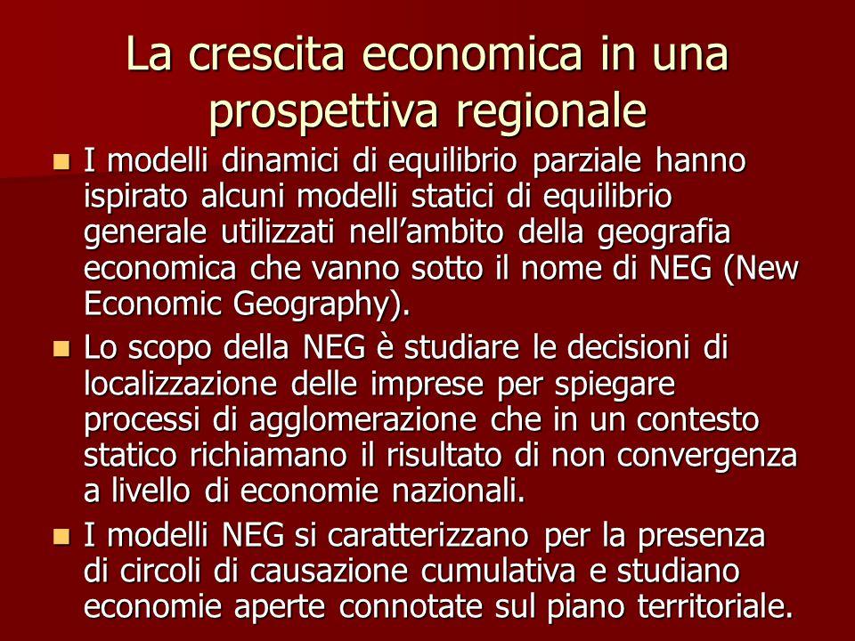 La crescita economica in una prospettiva regionale I modelli dinamici di equilibrio parziale hanno ispirato alcuni modelli statici di equilibrio generale utilizzati nell'ambito della geografia economica che vanno sotto il nome di NEG (New Economic Geography).