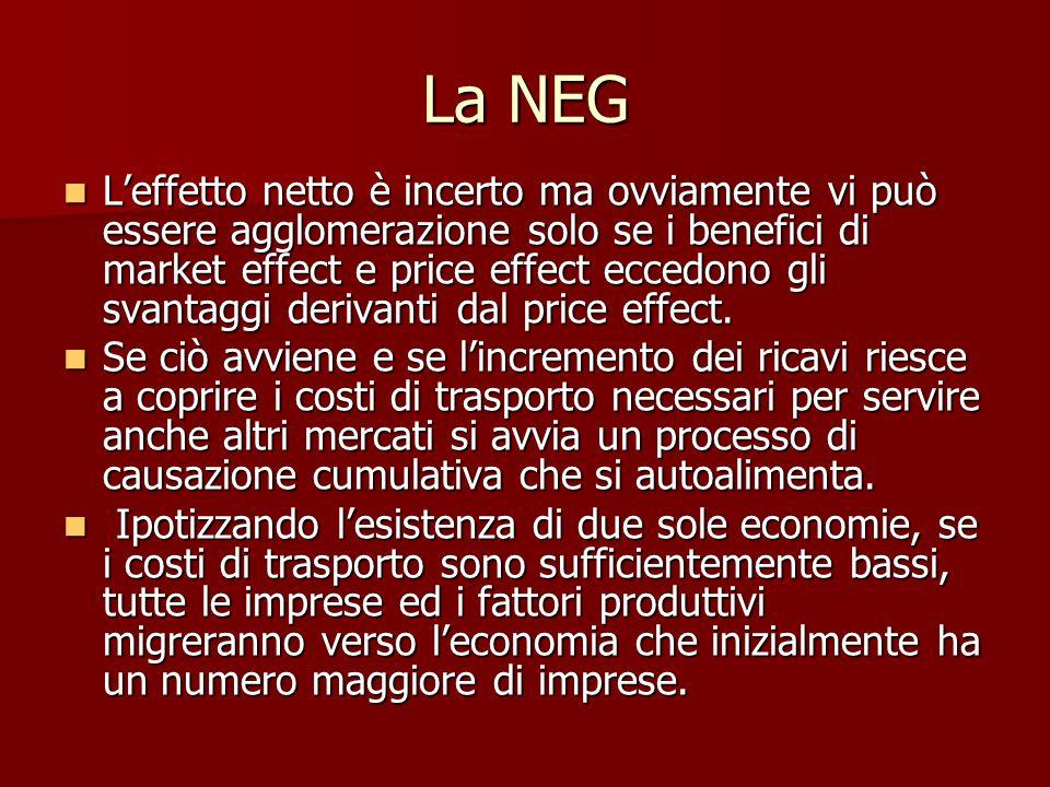 La NEG L'effetto netto è incerto ma ovviamente vi può essere agglomerazione solo se i benefici di market effect e price effect eccedono gli svantaggi derivanti dal price effect.