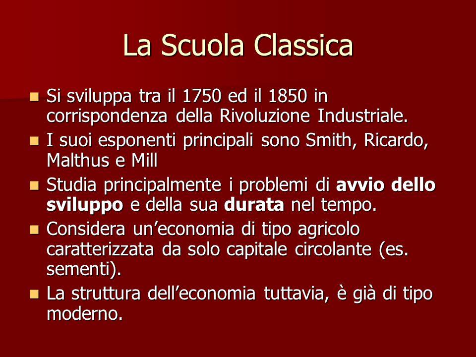 La Scuola Classica Si sviluppa tra il 1750 ed il 1850 in corrispondenza della Rivoluzione Industriale.