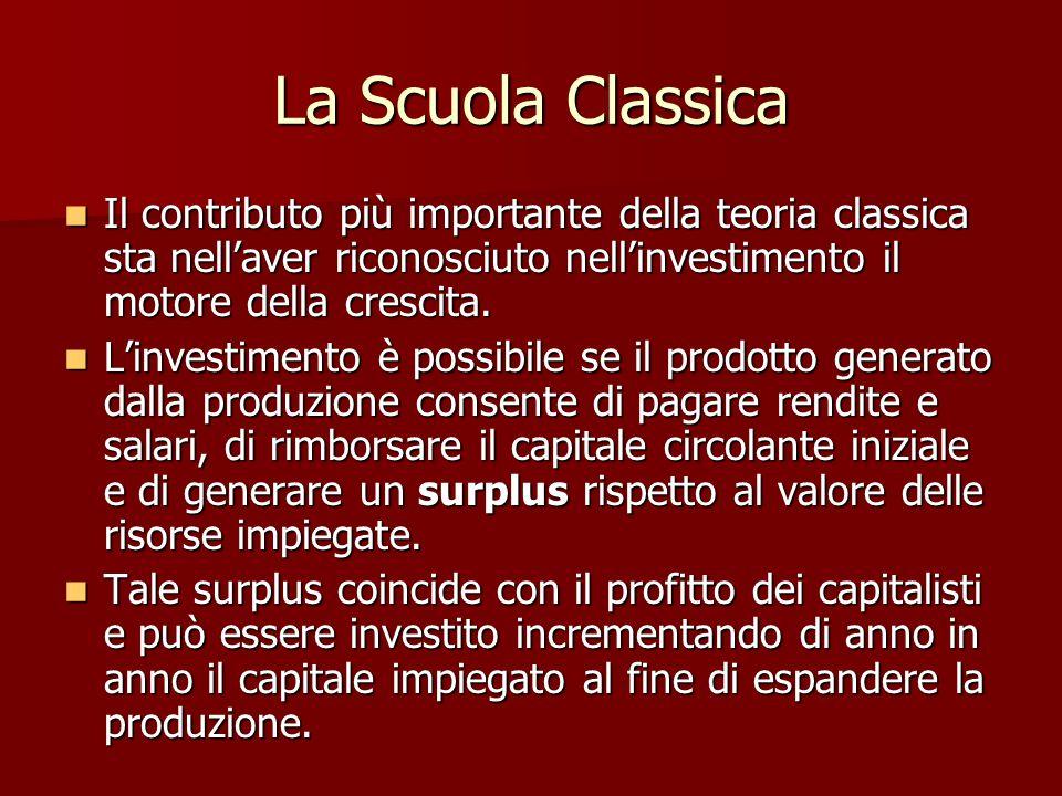 La Scuola Classica Nella fase di avvio dello sviluppo pertanto la politica economica deve occuparsi principalmente di incoraggiare l'investimento.