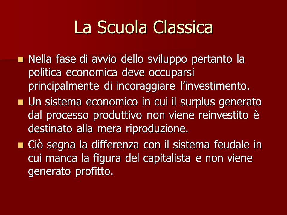 La Scuola Classica Il prodotto al netto del capitale circolante necessario al successivo ciclo produttivo, viene diviso tra proprietari terrieri e lavoratori e impiegato rispettivamente per spese improduttive e per il sostentamento.