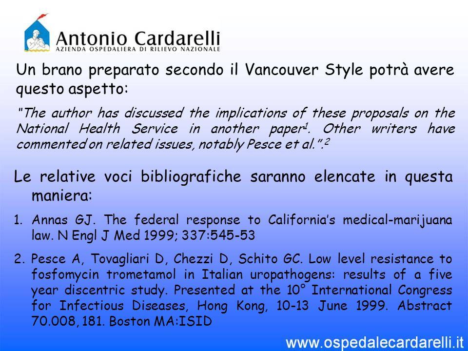 """Un brano preparato secondo il Vancouver Style potrà avere questo aspetto: """"The author has discussed the implications of these proposals on the Nationa"""