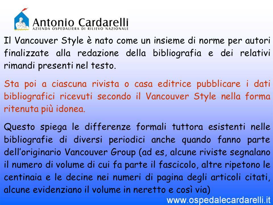Il Vancouver Style è nato come un insieme di norme per autori finalizzate alla redazione della bibliografia e dei relativi rimandi presenti nel testo.