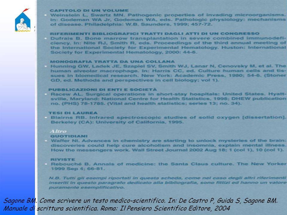 Sagone BM. Come scrivere un testo medico-scientifico. In: De Castro P, Guida S, Sagone BM. Manuale di scrittura scientifica. Roma: Il Pensiero Scienti
