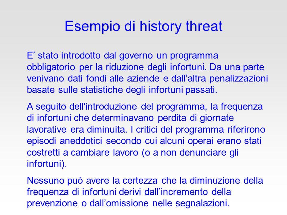 Esempio di history threat E' stato introdotto dal governo un programma obbligatorio per la riduzione degli infortuni.