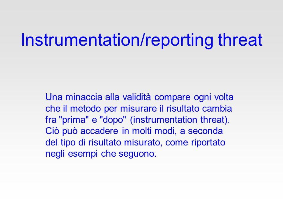 Instrumentation/reporting threat Una minaccia alla validità compare ogni volta che il metodo per misurare il risultato cambia fra prima e dopo (instrumentation threat).