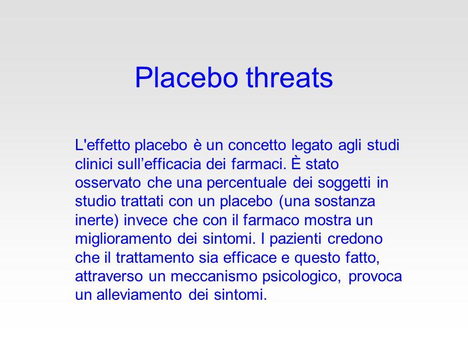 Placebo threats L effetto placebo è un concetto legato agli studi clinici sull'efficacia dei farmaci.